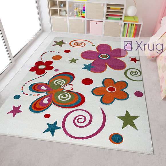 Kids Rug White Cream Contour Cut Hand Carved Pattern Multi Colour Mats Baby Nursery Carpet Bedroom Playroom Girs Boys Unisex Floral Butterfly Star