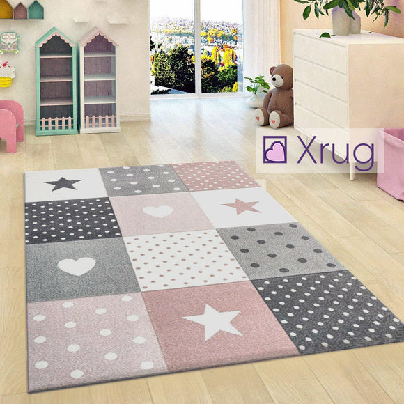 Kids Nursery Rug Pink Grey Star Carpet Woven Girls Bedroom Childrens Play Room Mat