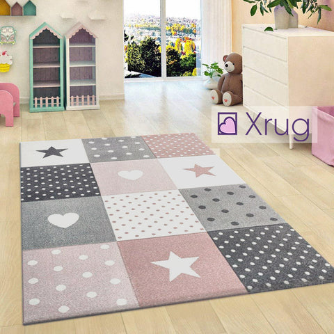 Kids Nursery White Cream Rug Butterfly Woven Low Pile Carpet Mat for Children Playroom & Bedroom