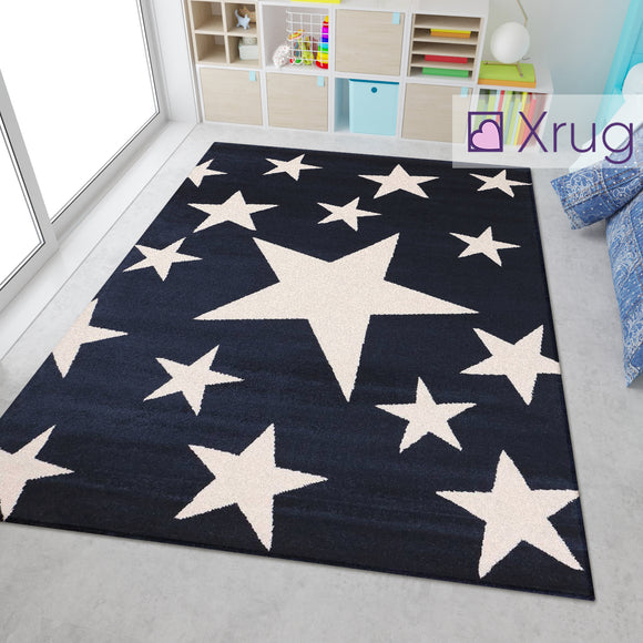 Kids Star Rugs Navy Dark Blue White Cream Childrens Bedroom Nursery Play Room Carpets Mats Small Large Baby Girls Boys Unisex Polypropylene Short Pile