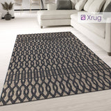 Modern Rug Flat Weave Geometric Trellis Black Grey Brown Indoor Kitchen Mat New