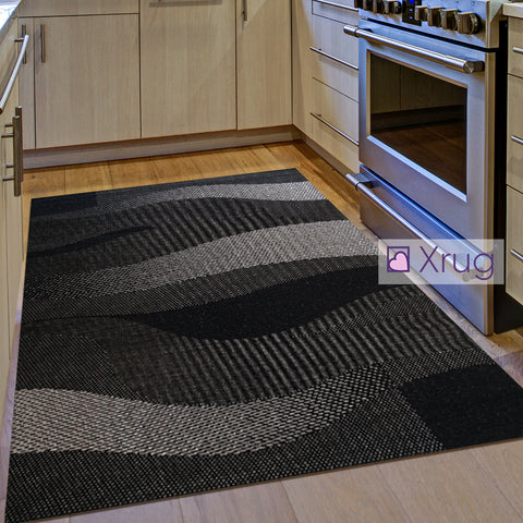 Kitchen Rug Black Grey Silver Wave Pattern Hard Wearing Flat Weave Carpet Indor Outdoor Floor Mat