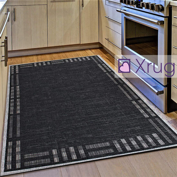 Kitchen Rug Black Grey Silver Border Pattern Hard Wearing Flat Weave Carpet Indoor Floor Mat
