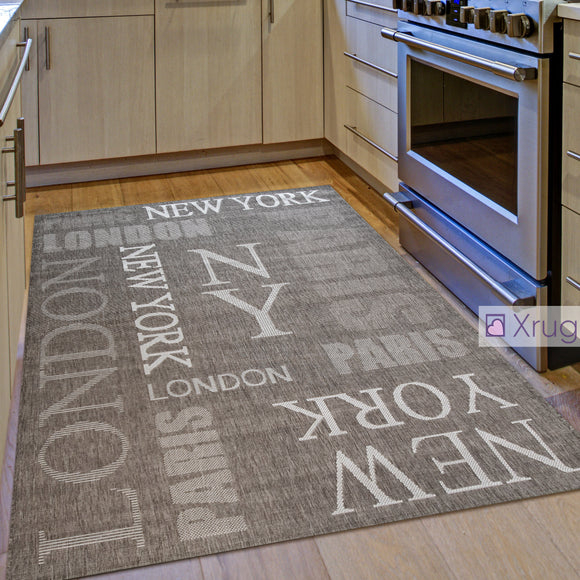Kitchen Rugs Brown Taupe Champagne Design New Yourk London Paris Carpet Flat Woven Mat