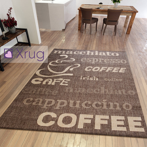 Flat Weave Kitchen Rug Taupe Brown Design Coffee Mats Hard Wearing Indoor Carpet