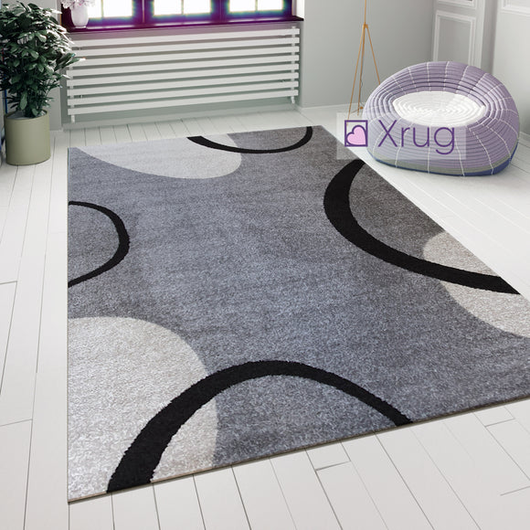 Large Modern Rug Grey Ivory Abstract Pattern Mat Woven Small Bedroom Carpet New