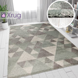 Mint Green Grey Rug Modern Thick Pile Geometric Mat Small X Large Bedroom Carpet
