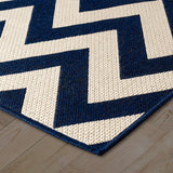 Kitchen Navy Blue Beige Cream Rug Flat Weave Non Slip Heavy Duty Hard Wearing Sisal Look Woven Carpet Modern Geometric Chevron Zig Zag Pattern Small Large Hall Runner Polypropylene Mat 60x110 60x180 60x230 80x150 120x160 160x225