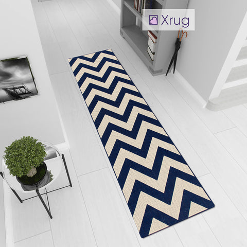 Kitchen Rug Chevron Zig Zag Navy Blue Beige Sisal Look Carpet Mat Runner Small Large