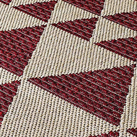 Kitchen Red Beige Rug Flat Weave Non Slip Heavy Duty Hard Wearing Woven Sisal Look Carpet Modern Geometric Pattern Small Large Hall Runner Polypropylene Mat 60x110 60x180 60x230 80x150 120x160 160x225