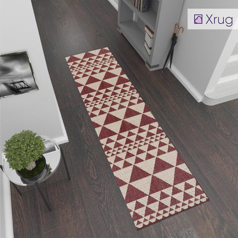 Heavy Duty Kitchen Rug Non Slip Red Beige Geometric Fat Weave Carpet Mat Small Large Runner
