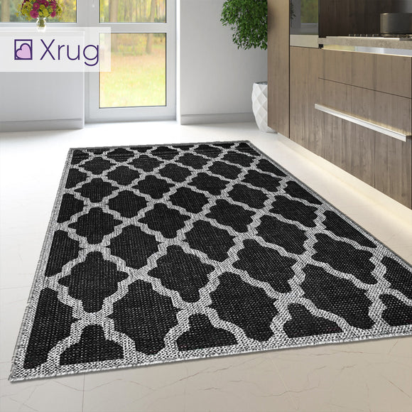 Black Kitchen Rug Trellis Sisal Look Heavy Duty Carpet Flat Mat Small Large Runner