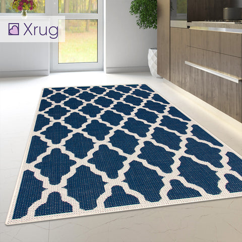 Heavy Duty Kitchen Rug Navy Blue Moroccan Trellis Sisal Look Small Large Carpet Mat Runner