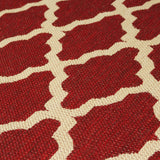 Living Room Red Cream Rug Flat Weave Anti Slip Sisal Look Woven Carpet Modern Moroccan Trellis Pattern Small Large Hall Runner Polypropylene Mat 60x110 60x180 60x230 80x150 120x160 160x225