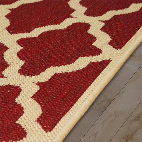 Kitchen Red Cream Rug Flat Weave Non Slip Heavy Duty Hard Wearing Sisal Look Woven Carpet Modern Moroccan Trellis Pattern Small Large Hall Runner Polypropylene Mat 60x110 60x180 60x230 80x150 120x160 160x225