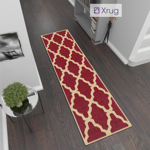 Red Kitchen Rug Non Slip Moroccan Trellis Sisal Look Carpet Small Large Runner Mat