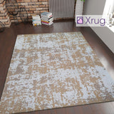 Modern Abstract Rug Mustard Beige Grey Distressed Pattern Large Small Living Room Bedroom 100% Cotton Rug Washable