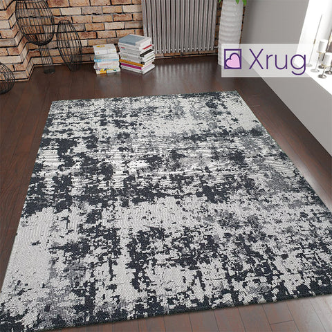 Modern Grey Black Rug Distressed Abstract Pattern Living Room Bedroom Carpet Mat Large Small Woven Washable Rugs New
