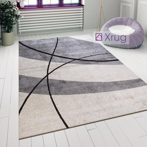 Modern Abstract Rug Grey Ivory Designer Carpet Small Large Living Room Floor Mat