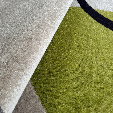 Modern Abstract Rug Ivory Green Grey Patterned Mats Small Large Bedroom Carpet