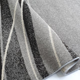 Modern Abstract Rug Low Pile Dark Brown Grey Floor Carpet for Bedroom Lounge Mat
