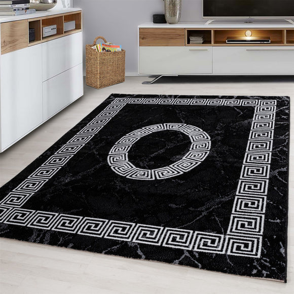 Modern Black Rug White Cream Geometric Pattern Border Design Carpet Bedroom Living Room Runner Hallway Mat Oriental Contemporary Small Extra Large