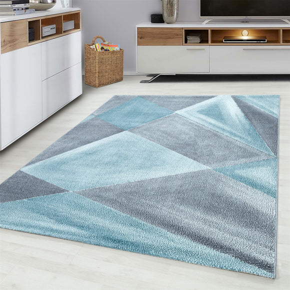 Grey Blue Rug Modern Designer Abstract Geometric Patterned Small X Large Room Runner Hallway Carpet Living Room Bedroom Area Lounge Mats Woven Polypropylene Heatset Short Low Pile 120x170 200x290 160x230 80x150