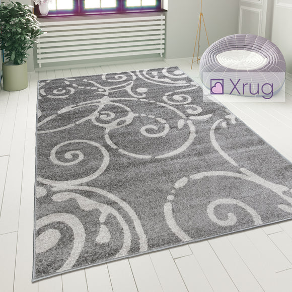 Modern Floral Rug Short Pile Grey Pattern Mat Small Large Living Room Carpet New