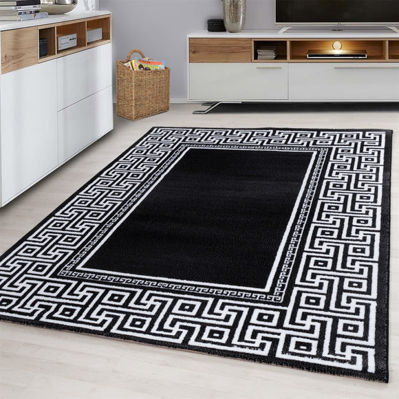 Contemporary Modern Geometric Bordered Traditional Oriental  Rug Black Grey Cream White Patterned Carpet Small Extra Large XL Living Room Bedroom Area Lounge Mats Woven Polypropylene Heatset Short Low Pile 120x170 200x290 160x230 80x150 80x300