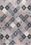 Check Rugs Modern Grey Pink Geometric Carpet Small Large Living Room Lounge Mat