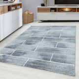 Grey Brick Wall Cream White Rug Modern Designer Abstract Geometric Patterned Small X Large Room Runner Hallway Carpet Living Room Bedroom Area Lounge Mats Woven Polypropylene Heatset Short Low Pile 120x170 200x290 160x230 80x150 80x300