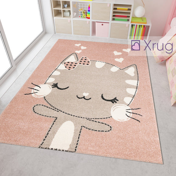 Modern Kids Rug Pink Beige Kitten Cat Design Girls Boys Unisex Carpet Round Baby Nursery Childrens Bedroom Playroom Floor Mat