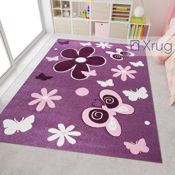 Modern Kids Rug Purple Pink Floral Butterfly Contour Cut Hand Carved Pattern Mat Childrens Play Room Carpet Nursery Baby Bedroom Boys Girls Unisex