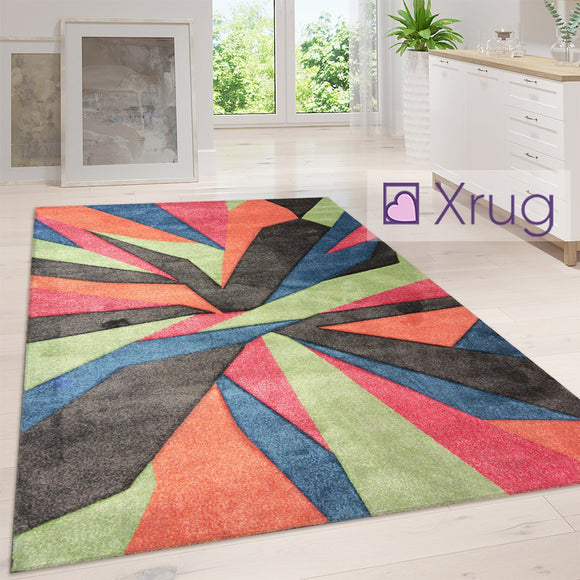 Modern Multi Coloured Rug Abstract Contour Cut Pattern Carpet Small Room Mat New