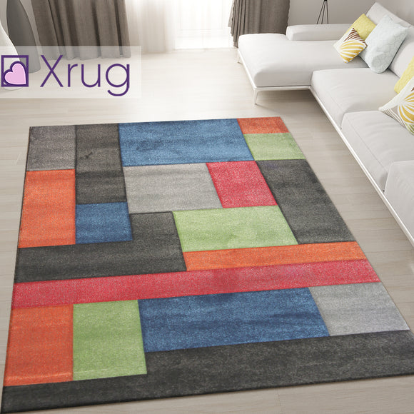 Modern Multi Coloured Rug Hand Carved Pattern Modern Geometric Carpet Lounge Mat
