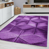 Modern Purple Rug Abstract Small Large Geometric Pattern Mat Living Room Carpets