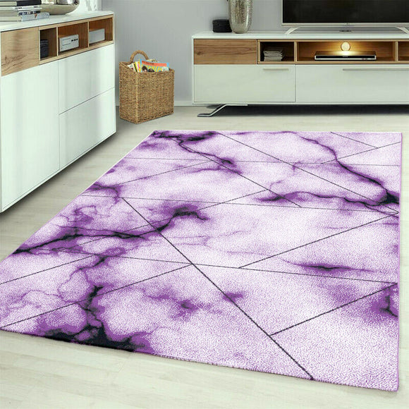 Contemporary Modern Abstract Geometric Rug Purple Cream White Patterned Carpet Small Extra Large XL Living Room Bedroom Area Lounge Mats Woven Polypropylene Heatset Short Low Pile 120x170 200x290 160x230 80x150 80x300