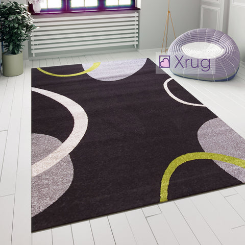 Modern Rug Abstract Pattern Dark Brown Grey Green Carpet Small Large Bedroom Mat