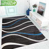 Modern Rug Dark Brown Blue Cream Abstract Pattern Carpet Small Large Bedroom Mat