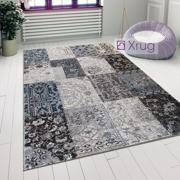 Modern Rug Grey Brown Blue Patchwork Pattern Carpet Large Living Room Check Mat