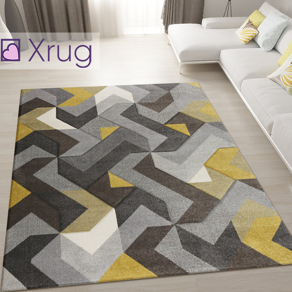 Modern Rug Mustard Grey Yellow Hand Carved Pattern Mat Geometric Bedroom Carpet