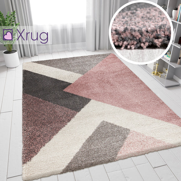 Modern Rug Pale Pink Beige Grey Geometric Thick Pile Carpet Small Large Room Mat