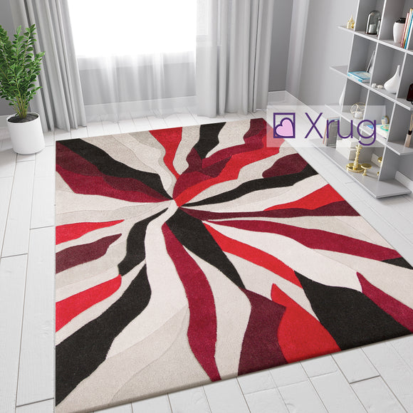 Modern Rug Red Black Beige Abstract Hand Carved Pattern Mat Living Room Area Mat