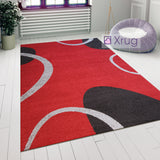 Modern Rug Red Black Grey Abstract Pattern Carpet New Small Large Room Floor Mat