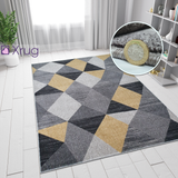 Modern Rugs Black Grey Yellow Gold Multi Geometric Abstract Pattern Carpet Small Large Area Mat Friese Soft Polypropylene Living Dining Room Bedroom Lounge 70x140 120x170 160x220