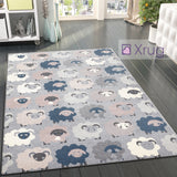 Modern Rugs Grey Blue Pink Sheep Pattern Carpet Small Large Living Room Area Mat