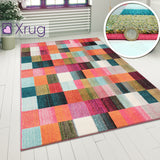 Modern Rugs Multi Coloured Check Pattern Carpet Geometric Small Large Room Mats
