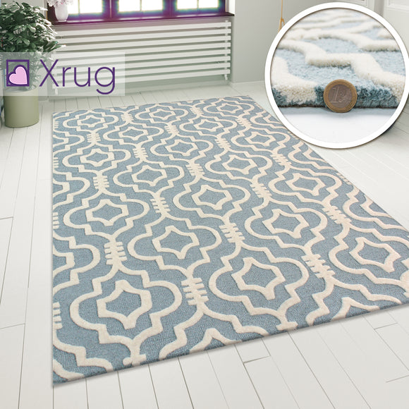 Modern Wool Rug Duck Egg Cream Oriental Pattern Carpet Small Large Room Area Mat