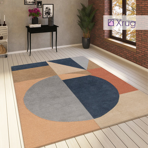 Geometric Rug Navy Blue Beige Designer Living Room Large Small Thick Carpet Mat
