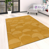 Yellow Geometric Rug Mustarde Ochre Bedroom Living Room Large Small Carpet Mat